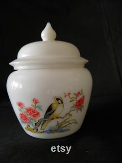 Milk glass vanity jar, Avon