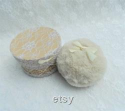 Mini Cream Powder Puff and Powder Box. Face Puff. Soft and Fluffy Faux Fur and Satin Bow. Gift for Her. Girls Gift.