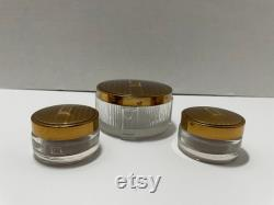 Monogramed E American Beauty Dresser Set Powder and creams makeup jars with lids