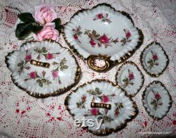 Moss Rose Dresser Set Vintage Vanity Set 8 Pc Powder Box withLid Jewelry Box withLid Trinket Box withLid Vanity Trays FREE SHIPPING