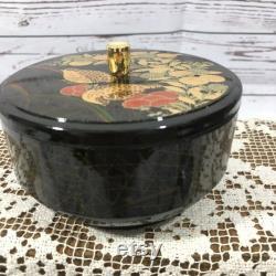 Otagiri Originals Covered Dish Black Lacquer Ware Japanese Asian Black Gold Dove
