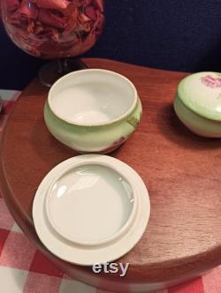Pair of Limoges Powder Jars Trinket Jars. Pink flowers.