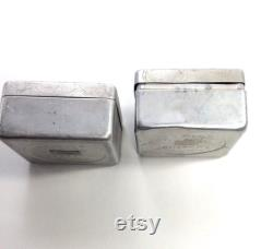 Pair of Vintage Aluminum LOV-LOR Face Powder Boxes, Designed by Rene Lalique in 1944 for Cheramy New York