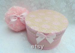 Pink Boudoir Powder Puff and Powder Bowl Gift Set. Soft and Fluffy Faux Fur and Oversized Bow. Gift for Her. Pamper Gift.