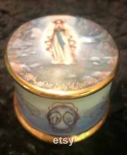 Porcelain Our Lady of Lourdes by Hector Garrido First Issue Music Jewelry Dresser Box Hand Painted