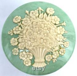Powder Box My Beauty Box USA Plastic Floral Green Vanity Trinket Vintage