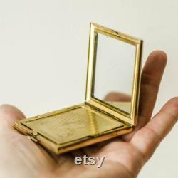 Powder Box POLKA DOT, Makeup Mirror Compact, Pill Case Vintage