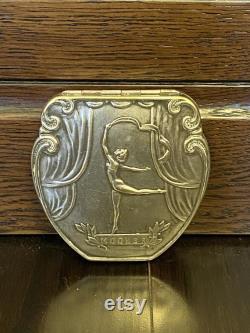 Powder case Vintage Powder Box with mirror USSR Melchior Powder case Gymnast Picture Soviet memorabilia Silvered Powder Box70s