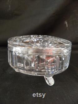 Pressed glass powder jar with three feet, vintage
