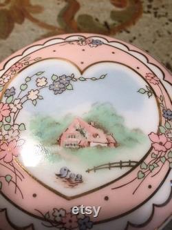 Pretty Vintage 1989 Sweet Cottage Powder Box Porcelain Trinket Box The Good Company