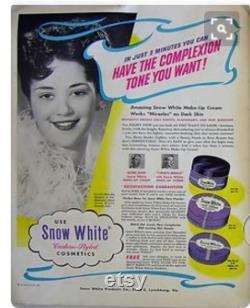 RARE 1920s SNOW WHITE Face Powder Box Flapper Makeup Art Deco Cosmetics Purple Vanity Fairytale Decor 20s Boudoir Dresser Box Princess Gift