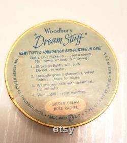 RARE 1940s WOODBURY Dream Stuff Powder Box Dreamy Blue Art Deco Stars Celestial Vanity Decor Full Face Powder 30s 40s Makeup Cosmetic Beauty