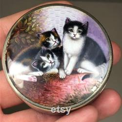 RARE Antique 935 Sterling Silver Kitty CAT Pill Snuff Powder box Guilloche Enamel Purple Womens Vanity Box Black White Brown Kitties