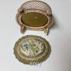 Rare Signed Florenza Hand Mirror and Trinket Box Set Oval Porcelain Wild Flowers