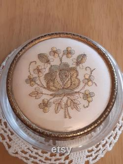 Regent of London Glass Powder Jar with Embroidered Lid