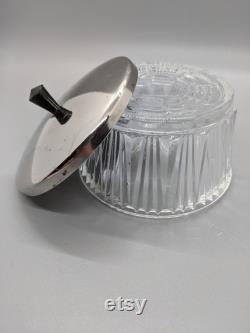 Ribbed Glass Powder Jar Vanity Trinket Jewelry Dish Chrome Lid