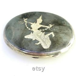 Siam Sterling Silver Container Compact Powder Box 76