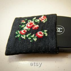 Small Cross Stitch Plant Embroidery Canvas Pouch, Rose Embroidery Mini Wallet
