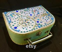 Small Sea Blue Decorative Customised Case for Make Up, Trinkets, a Cute Evening Bag or Child s Case