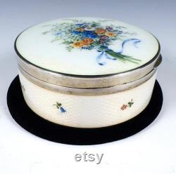 Sterling Silver and Guilloche Enamel Powder Box by Georg Adam Scheid