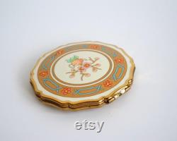 Stratton England powder compact vintage with teapot and cherry flowers motif