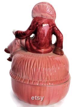 Striking Art Deco Red And Pink Harlequin Powder Jewelry Trinket Box Vanity Item