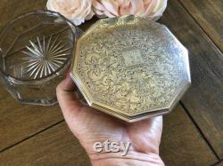 Stunning Antique Victorian Powder Box Crystal Bowl Bottom with Sterling Silver Lid Gorgeous Detailed Lid with Monogram