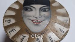 TOKALON Pierrot face powder box, 1930, Petalia, Rachel, 8cm dia