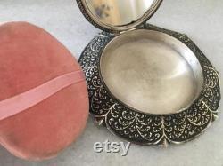 Table Powder Case. Vintage Aluminum Bronze Vanity Mirror Box. Women's Dressing Table Ornament. Metal Talc Box.