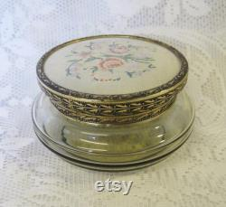 Tinted Glass Powder Bowl with Petit Point Embroidered Lid, Dressing Table Vanities, Trinket Bowl