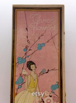 Unusual Large Richard Hudnut Three Flowers Presentation Box Vintage Pink