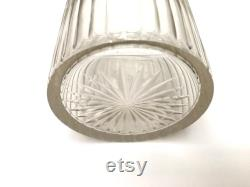 VANITY CRYSTAL JAR Large 19th century French faceted crystal jar with sterling silver topper