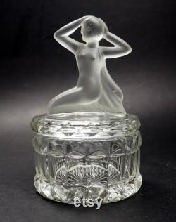 VINTAGE Art Deco Nude Frosted Woman Lid Bedroom Powder Jar Trinket Box Art Depression Glass