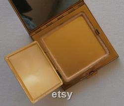 VOLUPTÉ Vintage (1940s) Powder Compact (Gold Metal) With Mirror And Separate Powder Compartment With 34 Rhinestones In Excellent Condition