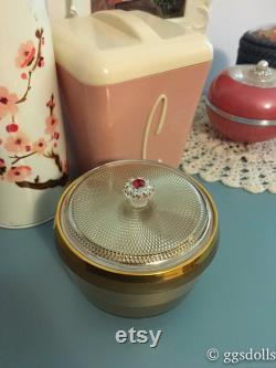 VTG Japan Kitsch Gold Jewelry Music Powder Box with Faux Ruby
