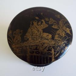 Victorian French Papier Mache Powder Box With Puff Japanese Decoration Antique Round Lidded Box