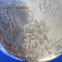 Victorian Powder Jar, Shreve and Company Sterling LId, American Cut Glass, Wedding Gift, Art Nouveau, Art Deco Jar, Floral Design