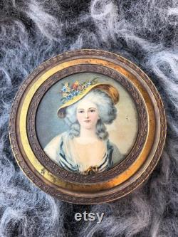 Vintage 1900s Jewelry Powder Box Lady on Lid