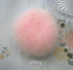 Vintage 1930s 30s Cut Glass Powder Bowl and Pink Pink Swansdown Powder Puff