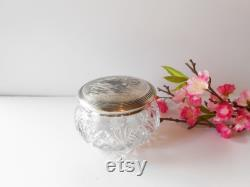 Vintage 1940's Glass Powder Jar with Silver Lid, Luxury Vanity Accessory, Vanity Collectible, Brides Gift, Romantic Gift for Her