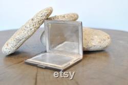 Vintage 835 Silver powder compact case with mirror , women's powder case .