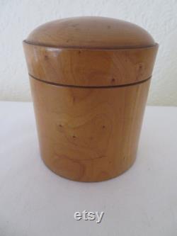 Vintage Antique Treen Wood Powder Pot with Domed Lid Boxwood Vanity Boudoir Make Up