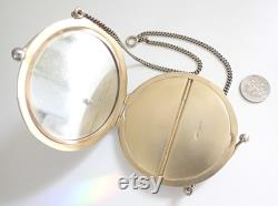 Vintage Art Deco Yellow Enamel Guilloche Sterling Silver Chatelaine Powder Compact Gold Filled