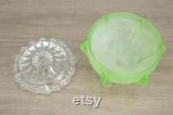 Vintage Art Deco green satin glass powder jar starburst lid vanity footed dresser jar trinket box collectible glass