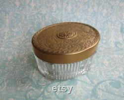 Vintage Art Nouveau Style Vanity Dresser Jar with Ribbed and Footed Glass Base And Brass Repousse Floral Lid, For Boudoir, Vanity Storage