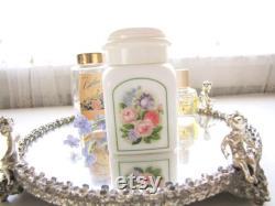 Vintage Avon Powder Jar Milk Glass Country Garden Powder Sachet