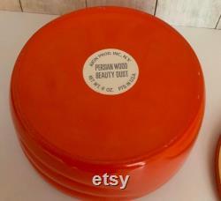 Vintage Avon Powder Jar, Persian Wood Beauty Dust, Perfume, Red Glass Powder Box, Shabby Chic, Vanity Decor, Glass Jar, 1950s