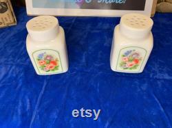 Vintage Avon Vanity Powder Pair of Porcelain Flower Jars.