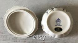 Vintage Aynsley Powder Box with Butterfly Handle, Just Orchids, Fine Bone China, Blue Flowers, Made in England
