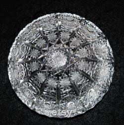 Vintage Bohemia Czech 24 hand cut Queen lace crystal covered candy powder trinket box